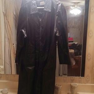 Leather coat - size 18 - black